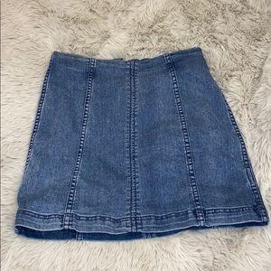 Free People Ribbed Denim Skirt